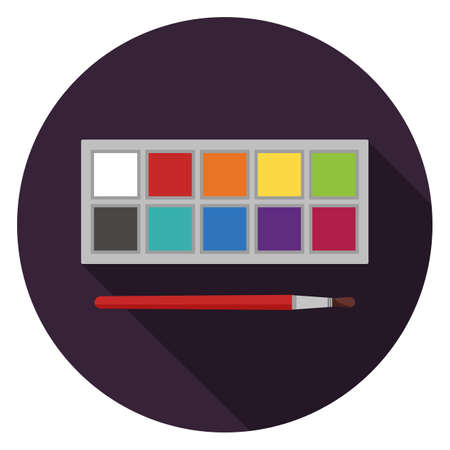 Gouache paint palette icon. Illustration in flat style. Round icon with long shadow.