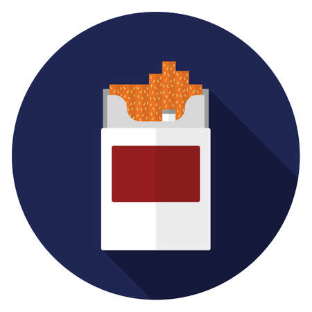 Cigarette pack icon. Illustration in flat style. Round icon with long shadow.