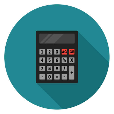 Calculator icon. Illustration in flat style. Round icon with long shadow. Illustration