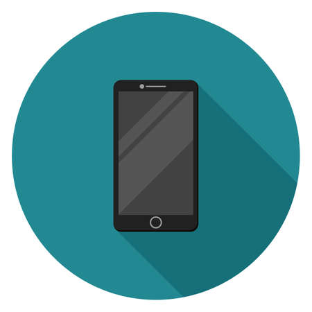 Black smartphone icon. Illustration in flat style. Round icon with long shadow.