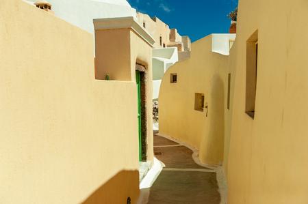 Colored street of Imerovigli village, Santorini Iceland, Greece photo