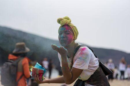 Geoje, SOUTH KOREA - MARCH 2018: Holi festival 報道画像