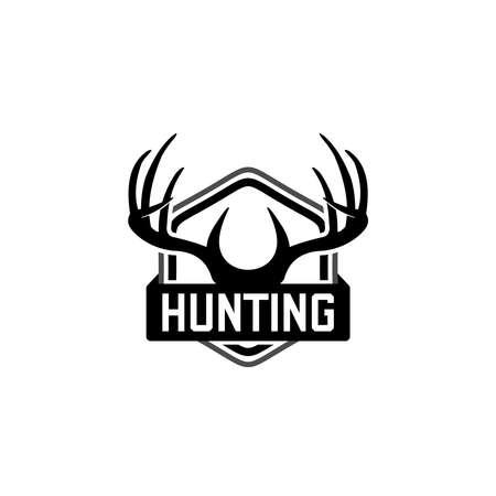 Hunting logo, hunt badge or emblem for hunting club or sport . deer antler logo design