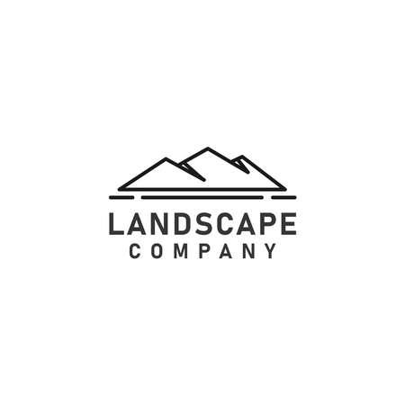Line Landscape Hills or  Mountain Peaks Vector logo design