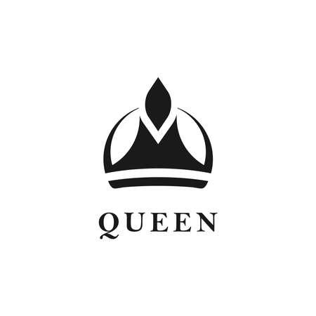 Queen or King Symbol Crown Vector logo design