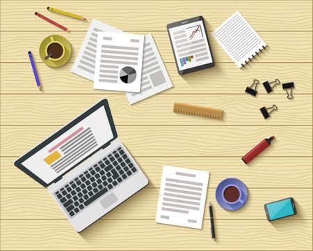 사무실 직장의 플랫 스타일의 현대적인 디자인. 비즈니스 워크 플로우 항목 및 가젯 아이콘을 설정합니다. 작업 또는 개념을 공부. 평면도. 벡터 일러 일러스트