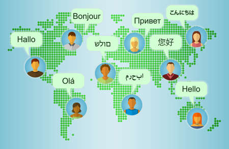 Set of People Icons on Earth Map Background with Speech Bubbles with greetings in many languages. Communication and People Connection Concept. Flat Design. Vector Illustration Vettoriali