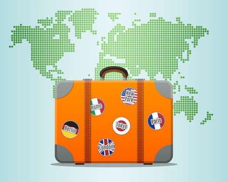 maleta: Maleta de viaje con pegatinas y Mapa del Mundo Vectores