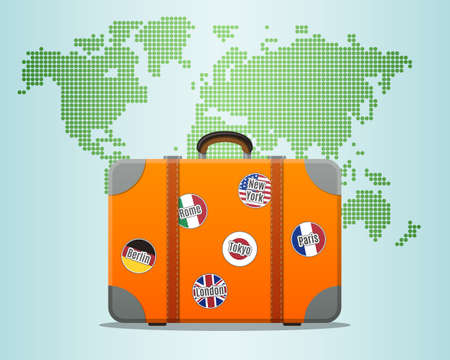 old suitcase: Travel Suitcase With Stickers And World Map