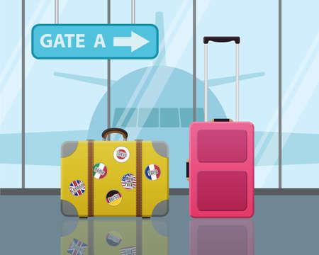 viaje de negocios: Maletas de viaje en el aeropuerto con un plano en el fondo. Viajes, Viaje de negocios concepto. Dise�o Moderno Piso
