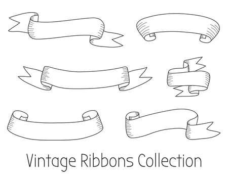 Vintage Ribbons Collection. Vintage Vector Design Elements Ilustração