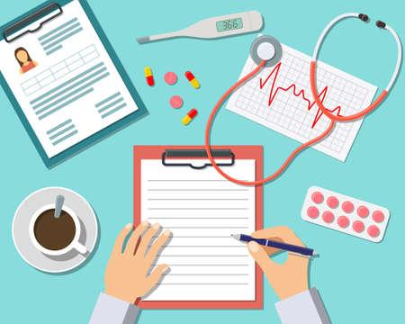 s�mbolo de la medicina: Lugar de trabajo m�dico. Doctor que trabaja en la mesa en la cl�nica. Dise�o plana, ilustraci�n vectorial Iconos