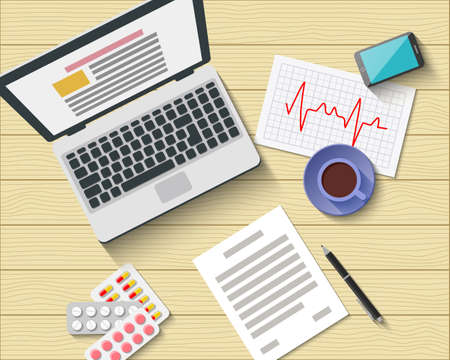 work flow: Medical Workplace with gadgets, pills, cardiogram and work flow items. Doctor Office. Flat Design. Vector Illustration Icons