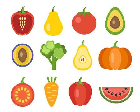 verduras: Verduras y frutas iconos. Los alimentos org�nicos, ilustraci�n vectorial