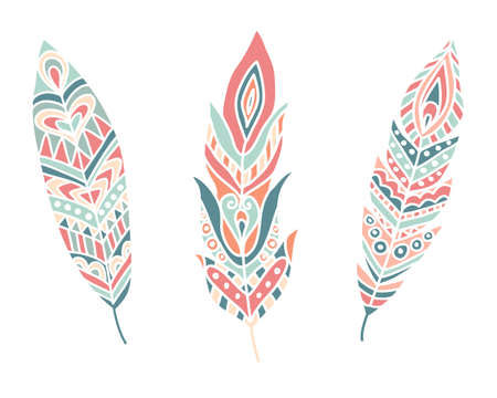 contours: Ethnic Feathers. Hand drawn design elements. Vector Illustration