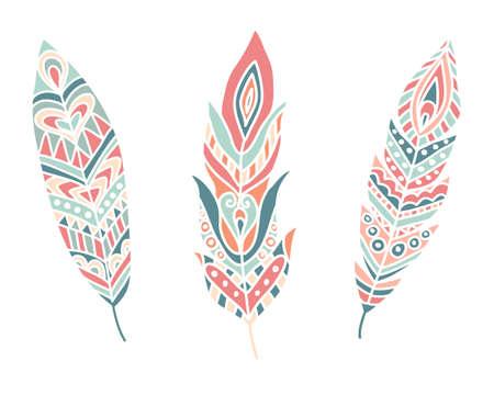 pluma: Plumas �tnicas. Dibujado a mano elementos de dise�o. Ilustraci�n vectorial