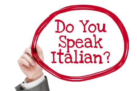 italian man: Do You Speak Italian.  Man writing text isolated on white