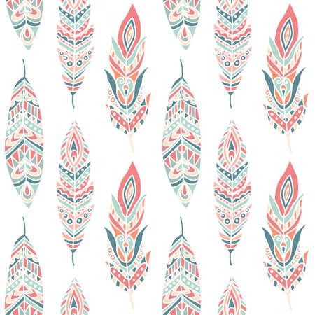 piuma bianca: Reticolo senza giunte con le piume etniche, disegnata a mano illustrazione vettoriale, può essere utilizzato per carta da parati, sfondo della pagina web, biglietti di auguri, stampa tessuto