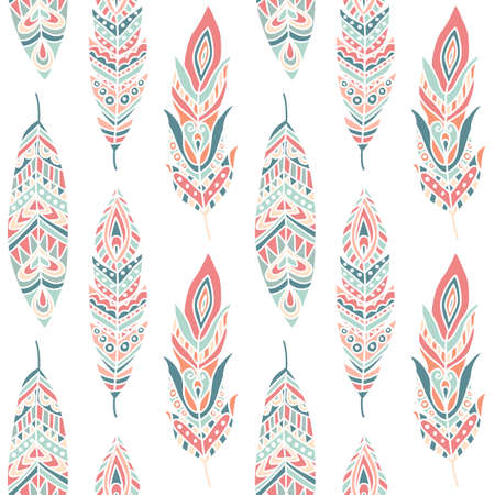 feather background: Seamless Pattern with Ethnic Feathers, hand drawn vector illustration, can be used for wallpaper, web page background, greeting cards, fabric print