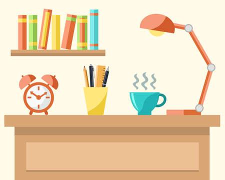 estudiando: Lugar de trabajo con un ordenador portátil, una taza de café, lámpara, reloj despertador, lápices y libros. Estudiar o el concepto de trabajo. Ilustración del vector
