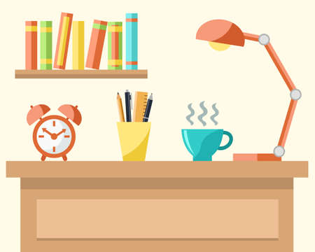 study table: Workplace with a laptop, cup of coffee, lamp, alarm clock, pencils and books. Studying or working concept. Vector Illustration Illustration