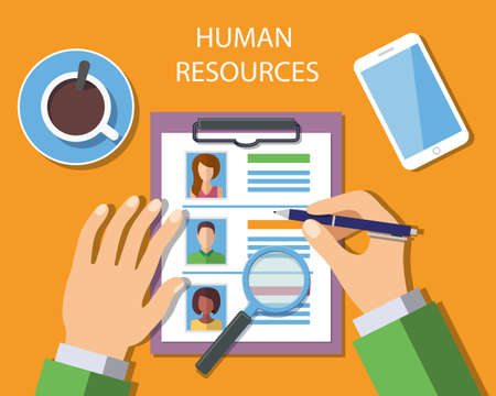 Human Resources Management Concept, Man analyzing personnel resume. Vector Illustration Illustration