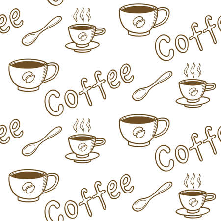 cafeteria: Vintage Coffee Seamless Pattern for cafeteria wallpaper, fabric print or greeting cards