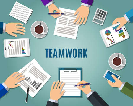 briefing: Concept of teamwork consulting on briefing, group of people planning, brainstorming idea of company strategy. Flat design style modern vector illustration