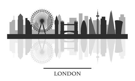 London skyline, black and white stylish silhouette, vector illustration Illustration