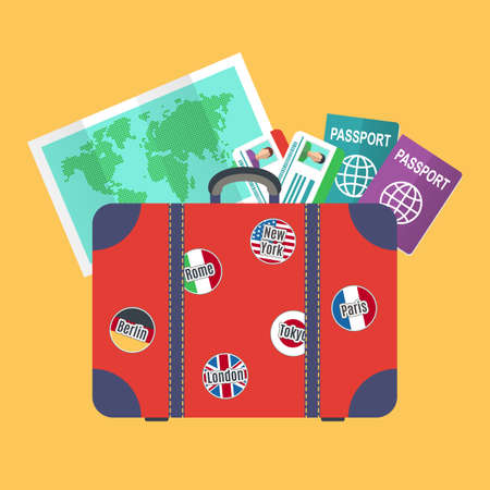 travelers: Travelers suitcase, earth map, passports, Travel and vacations concept