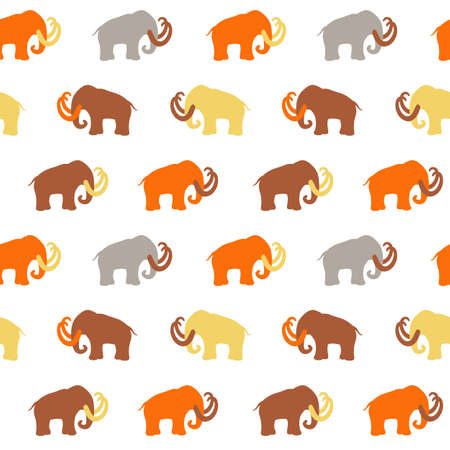 Seamless Pattern with Mammoth silhouettes, illustration, can be used for wallpaper, web page background, greeting cards, fabric print