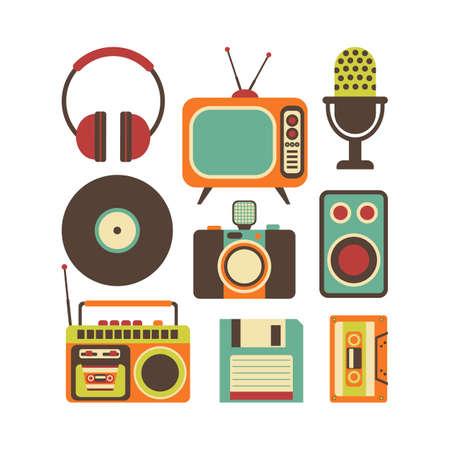 tape recorder: Retro Media technology, flat icons set, illustration of tv, photo camera, cassette, radio tape recorder, microphone, diskette, headphones
