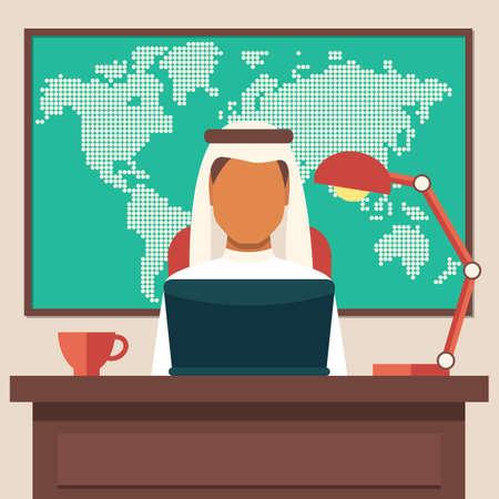 etnia: El hombre de negocios árabe que trabajan en el ilustración de la oficina