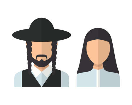 judaic: Judaic man and woman. Vector flat design