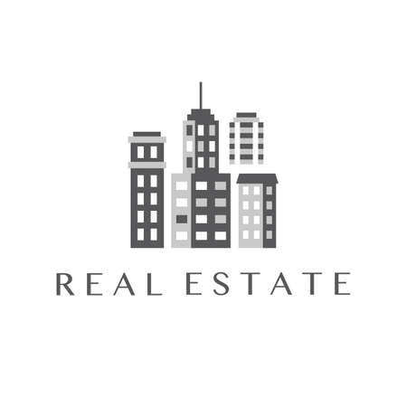 commercial real estate: Real Estate Design, Commercial Property Template Illustration
