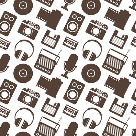 tape recorder: Seamless Pattern with Retro Media technology, flat icons set, vector illustration of tv, photo camera, cassette, radio tape recorder, microphone, diskette, headphones Illustration