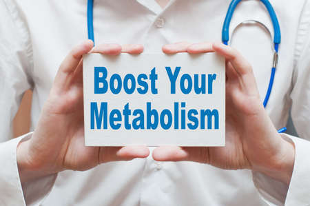 anaerobic: Boost Your Metabolism. Card with text in doctor hands