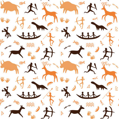 Seamless Pattern with Cave drawings theme, vector illustration, can be used for wallpaper, web page background, greeting cards, fabric print