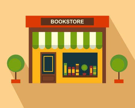 Books Store building, storefront. Thin line art, web design element