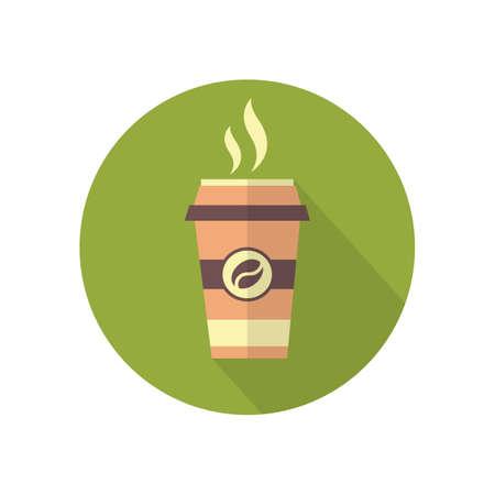 long bean: Modern Takeaway Coffee Icon In Flat Desing