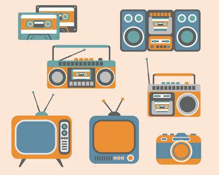 tape recorder: Retro Media electronics, Icons Set, illustration of tv, radio, photo camera, cassette, radio tape recorder Illustration