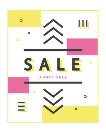 mega sale: Mega Sale with geometric shapes in scandinavian, swiss, 80s, 90s trendy style. Special offer, discount concept. Typographic design poster, template for your business. illustration Illustration
