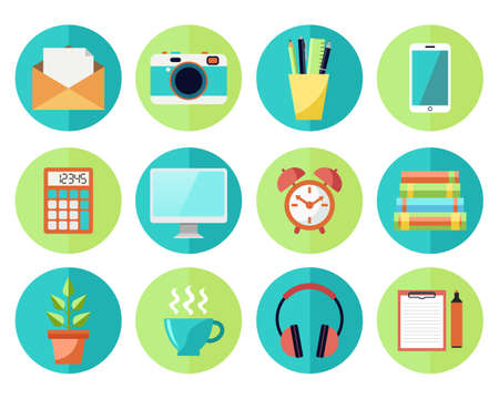 work flow: Icons in flat style. Business or Education Work Flow Items and Gadgets