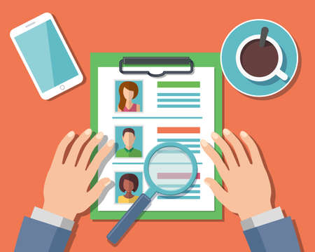 Human Resources Management Concept, Man analyzing personnel resume. Illustration