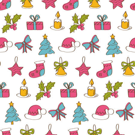 Christmas seamless pattern background with hand drawn icons. Greeting card design. Vector illustration