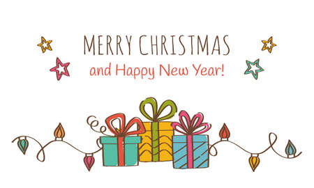Merry Christmas and Happy New Year Greeting Card with gift boxes. Vector illustration