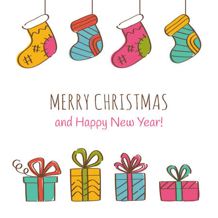 Merry Christmas and Happy New Year Greeting Card with gift boxes and Christmas socks. Vector illustration