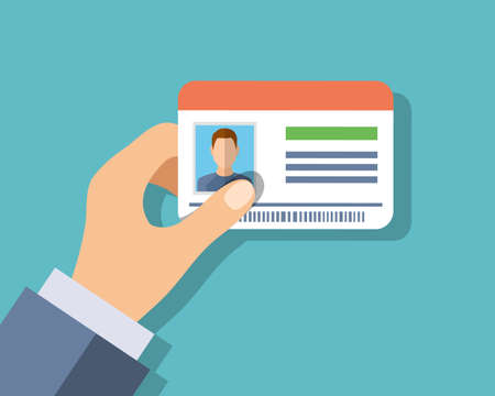 Id cards in hand. Vector illustration in flat style
