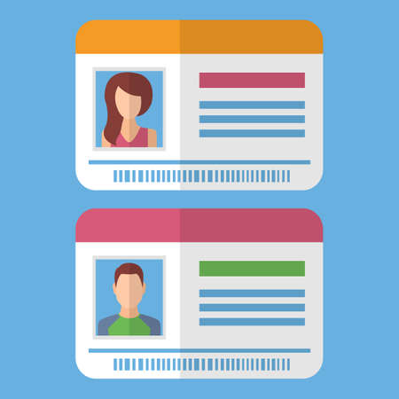Id cards template with man and woman photo. Vector illustration in flat style