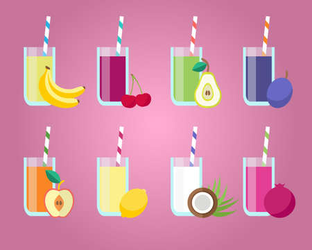 Verse vruchtensappen stellen. Design elementen voor cafe en restaurant menu. Gezond eten concept